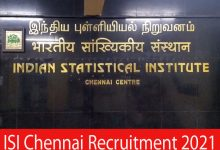 Photo of ISI Chennai Recruitment 2021 |Various Project Assistant & JRF Posts |Apply Online